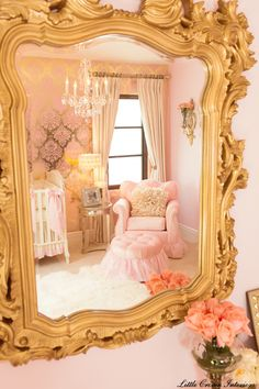 "Love the metallic wall stencil and elaborate mirror. I would do something other than gold, but love the styling.  ""Gold and gorgeous! Check out the wallpaper in this nursery by @Little Crown Interiors #pink #nursery"""