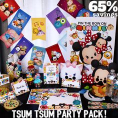 1) Tsum Tsum Theme Party Invitation * Custom Digital Invitation made to order * Draft will be sent to you for approval * Standard size is 5X7 unless otherwise requested  2) Tsum Tsum Printable Masks - Fifteen Vector Illustrated Tsum Tsum Masks - Easy to print downloadable PDF - Each Mask fits on standard letter size card stock  3) Tsum Tsum Treat Bag Toppers -Comes in 4 sizes  - 5x4 folding to 5x2  - 6.5 x 5.2 folding to 6.5 x 2.6  - 4x3.2 folding to 4x1.6  4) Tsum Tsum Printable Treat Bags…