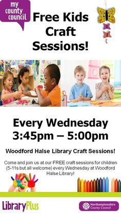 Craft sessions Wed's Woodford Halse Library