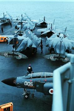 Buccaneer's of 809 NAS and Phantom's of 892 NAS parked aboard HMS Ark Royal