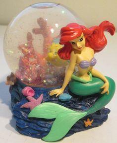 Vintage Disney's The Little Mermaid Snow Globe Ariel Flounder Snowglobe VTG EUC