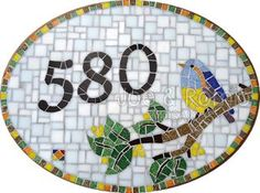{Estúdio Joe e o Romio} mosaicos: Modelos numerais - 30x40cm Oval: