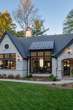 Stone Exterior Houses, Dream House Exterior, Stone Houses, Stone House Exteriors, Black Trim Exterior House, Modern Home Exteriors, Luxury Homes Exterior, Exterior House Colors, Modern Houses