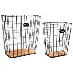 Set de 2 cestas cuadradas en metal y madera