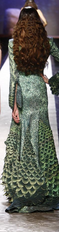 Jean Paul Gaultier ~ Mermaid Style Evening Dress, Multi Green