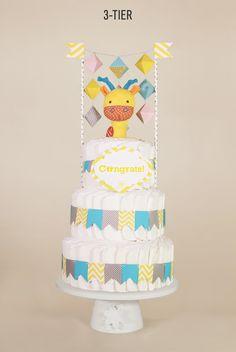 Geometric garland gender neutral baby shower diaper cake. 3-Tier. Yellow, Blue, Grey.