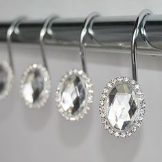 Cute Shower Curtains, Shower Curtain Hooks, New Bathroom Ideas, Curtains With Rings, Black Crystals, Black Rings, Girl Gifts, Clear Crystal, Bathroom Bath
