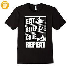 Eat No Sleep Code Repeat Programmer T-Shirt Herren, Größe S Schwarz (*Partner-Link)