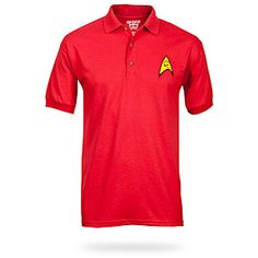 Engineering Red Uniform These adult Star Trek Polo Shirts are lighter than the Star Trek red, but is still awesome. It is made of soft jersey polycotton. It is an officially licensed Star Trek product. Star Trek Shirt, Star Trek Uniforms, Star Trek 2009, Must Haves, Polo Ralph Lauren, Dads, Polo Shirts, Geeks, My Style