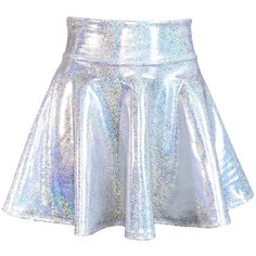 Holographic Silver High Waisted Skater Skirt Clubwear, Rave Wear, Mini... ($34) ❤ liked on Polyvore featuring skirts, mini skirts, blue skirt, mini skater skirt, high-waisted flared skirts, flared skirt and stretch mini skirt