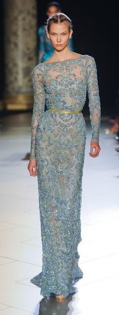 Elie Saab Fall 2012 Couture, Karlie Kloss. (Cadet blue fully embroided fitted floor length dress, long sleeves)