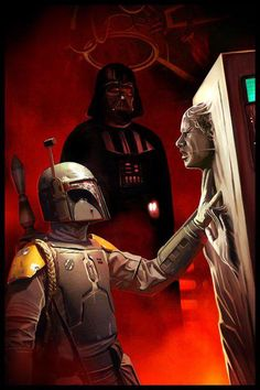 Boba Fett and Han Solo in carbonite, by Benjamin Carre