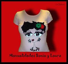 Camiseta. Flamenca pintada a mano.  www.tallerdemanualidadesdesoniaylaura.blogspot.com