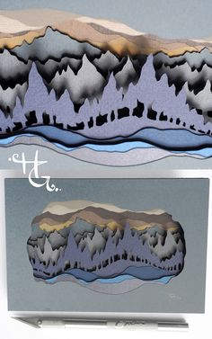 Before the Fog Rolls In, 15 layers of hand cut paper, inches, by Hazel Glass. A paper diorama for the Little Things show at Guardino Gallery. Paper Art Design, Cut Paper Illustration, Cut Out Art, Shadow Box Art, Beauty In Art, Cardboard Art, High Art, Paper Artist, Art Techniques
