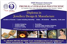Diploma in Jewellery Design @ SNDTWU: Admission is in Progress , LIMITED SEATS AVAILABLE...