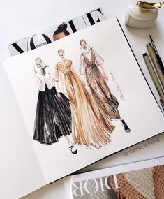 Source by herz design sketches Fashion Design Sketchbook, Fashion Illustration Sketches, Fashion Design Drawings, Fashion Sketches, Mode Collage, Mode Ootd, Model Sketch, Mode Chanel, Fashion Figures