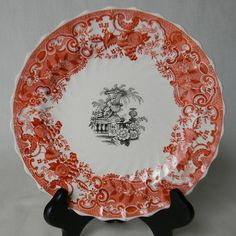 RARE Two Color Brick Red / Rust and Black Transferware Plate Spode  May by EnglishTransferware