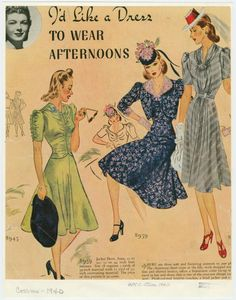 I'd like a dress to wear afternoons. A plate of dresses circa 1940.