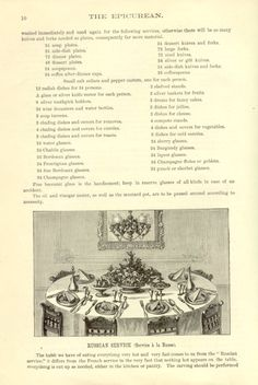 Table set for 'service a la Russe', from from Charles Ranhofer's 'The Epicurean' (New York, 1894)