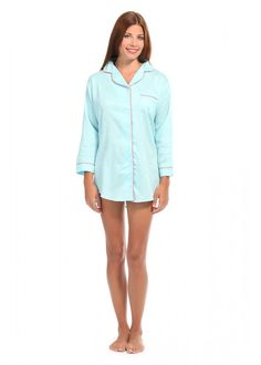 Spa Blue With Coral Sateen Night Shirt by Malabar Bay