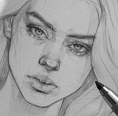 Portrait Drawing Guides and Inspiration – Bein Kemen Body Drawing Tutorial, Eye Drawing Tutorials, Sketches Tutorial, Mouth Drawing, Girl Face Drawing, Nose Drawing, Portrait Drawing Tips, Portrait Sketches, Portrait Art