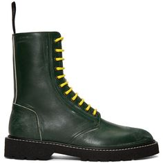 Maison Margiela Green Leather Distressed Boots (6,190 CNY) ❤ liked on Polyvore featuring men's fashion, men's shoes, men's boots, mens leather lace up boots, mens green leather shoes, mens distressed leather shoes, mens leather boots and maison margiela men's shoes