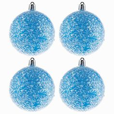 Blue Ball Ornaments with Iridescent Tinsel Glitter