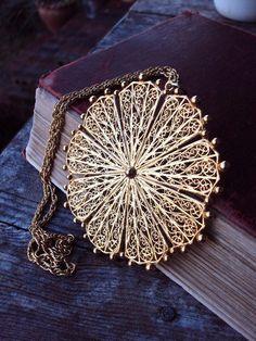 Vintage Large Medallion Pendant Necklace by primitivepincushion