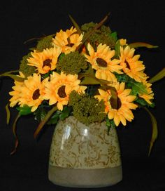 Artificial Flower Arrangement, Gold Sunflowers and Olive Green Seed Bunches, Olive Vase, Silk Floral Arrangement, Silk Flower Arrangement,