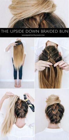 Back braid up into bun diy