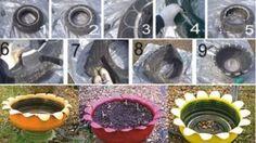 Bahçe Dekoru : Araba Lastiğinden Saksı Yapımı