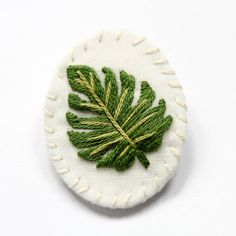 Monstera Hand Embroidered Brooch | Tropical Leaf Hand Embroidered Pin | Leaves Nature Brooch | Fabric Cloth Fiber Hand Embroidery Brooch