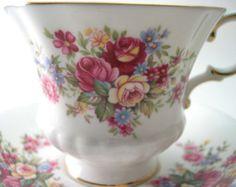 "Paragon Tea kop og underkop sæt, blomst festival ""G"", engelsk te kop sæt, Hvid te kop med roser."