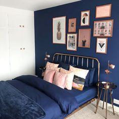 Bedroom Fireplace Decor Navy blush and copper bedroom.Bedroom Fireplace Decor Navy blush and copper bedroom Dark Blue Bedrooms, Blue Master Bedroom, Navy Bedrooms, Blue Bedroom Decor, Room Ideas Bedroom, Blue And Pink Bedroom, Bright Bedroom Ideas, Dark Bedroom Walls, Blue Bedroom Curtains