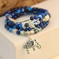 Multi - Layer Blue - Buddha Bracelet