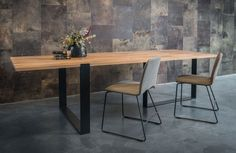 Design:Trude Van Assen2008 As shown: Walnut table top (3 cm thick), black metal frame, also available in oak, maple, elm...