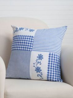 Beautiful blues overflowing with easy summertime charm! Such a pretty combination of classic plaid, hand-worked embroidery and old fashioned ticking stripes, the Picnic Patchwork artfully arranges the best of our past for the home of today. Sewing Pillow Patterns, Sewing Pillows, Diy Pillows, How To Make Pillows, Embroidery Patterns, Quilt Patterns, Embroidery Art, Embroidery Stitches, Foam Cushions