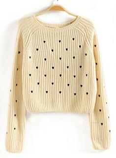 Jersey bordado corazón manga larga-Beige EUR€17.69
