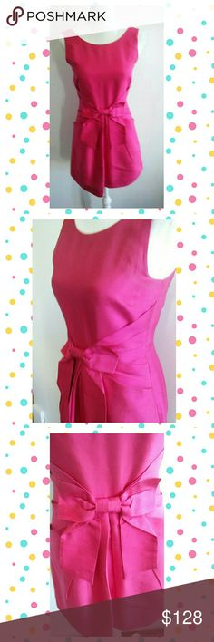 KATE SPADE SILK COCKTAIL PARTY DRESS Gorgeous Kate Spade Dress. Only worn once and washed by hand once. Has a lining. 100% SILK. BIGHT FUCHSIA. THIS DRESS IS STUNNING.. NO STAINS. THIS IS A MINI LENGTH.  ZIPS UP THE BACK AND HAS A BOW IN THE FRONT. kate spade Dresses Mini