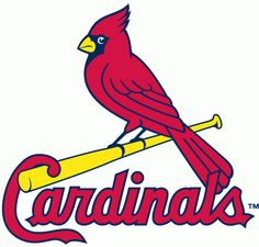 St. Louis Cardinals Primary Logo (1998) - A cardinal perched on a yellow bat over Cardinals script in red