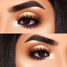 Bold Blue Eyeliner #EyeMakeupGlitter How To Do Eyeliner, Blue Eyeliner, Perfect Eyeliner, Glitter Eyeliner, How To Apply Mascara, Gel Eyeliner, Eyeliner Styles, Blue Dress Makeup, Orange Makeup