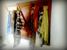 Drying rack repurposed as scarf storage Scarf Storage, Homekeeping, Household Tips, Storage Organization, Wardrobe Rack, Repurposed, Organize, Bedroom, Closet