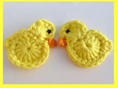 SALE 50 off 2 Crochet Easter Chick hair clips by MyfanwysMakes, £1.35