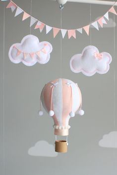 Baby Mobile Hot Air Balloon Mobile Pink and by sunshineandvodka