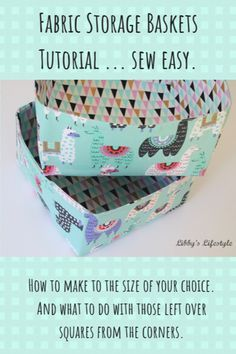 How to make the cutest fabric storage baskets. Includes the magic formulas to ma… How to make the cutest fabric storage baskets. Includes the magic formulas to make any size basket, square or rectangle. Fabric Box Pattern, Fabric Basket Tutorial, Pouch Tutorial, Wallet Pattern, Tote Pattern, Purse Patterns, Sewing Patterns, Small Sewing Projects, Sewing Projects For Beginners