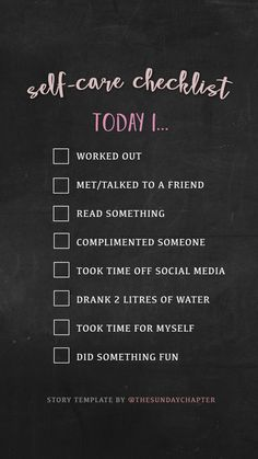 Great checklist for self-care. Are you taking care of yourself before others?