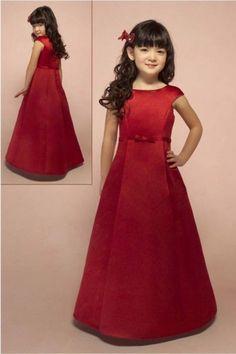 Red Satin Flower Girl Dress