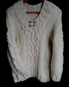This hand knit wool sweater is full of texture with its unique cable designs; it will make the perfect gift for that special someone or maybe just a Knit Baby Sweaters, Wool Sweaters, Men Sweater, Baby Makes, Winter White, Wool Yarn, Warm And Cozy, Baby Knitting, Lana