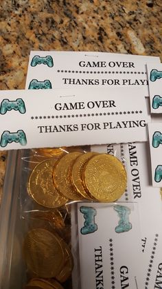 """More goody bag ideas! """"Game Over"""" tags w/ gold coins! Sonic Birthday Parties, Birthday Games, 11th Birthday, Birthday Ideas, Xbox Party, Game Truck Party, Pac Man Party, Video Game Party, Mario Party"""