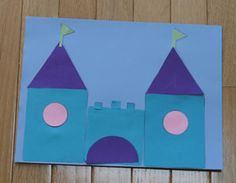 Shape castle craft for kids. Use our template and cut out the basic shapes needed to make this cool castle. Fairy Tale Crafts, Fairy Tale Theme, Fairy Tale Activities, Preschool Activities, Preschool Art Projects, Preschool Crafts, Toddler Crafts, Crafts For Kids, Castle Crafts